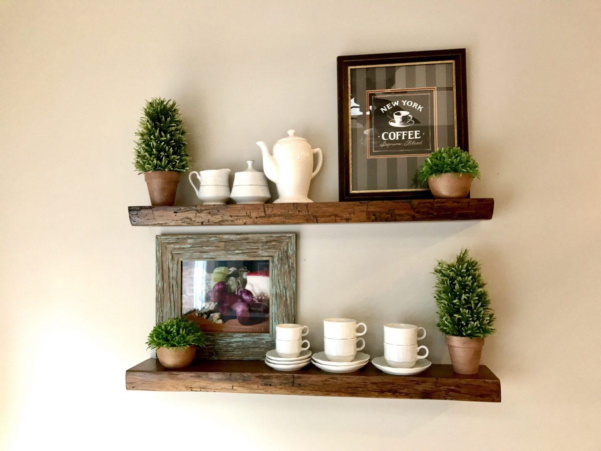 Resawn Antique Oak, Dark Walnut Stained Floating Shelves