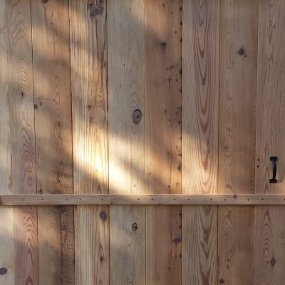 Barn Door Made from Reclaimed Heartpine Flooring