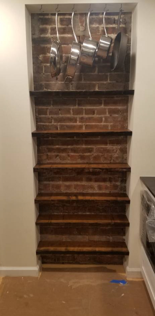 Custom live edge cherry shelves, dark walnut stained, installed by Etsy customer