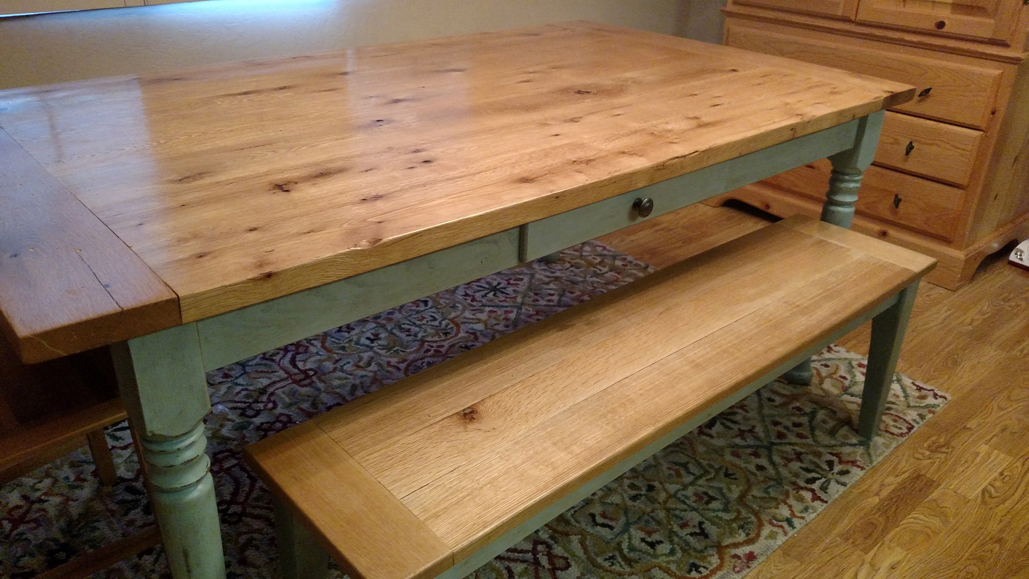 Customer-built farmhouse table made with our resawn antique white oak