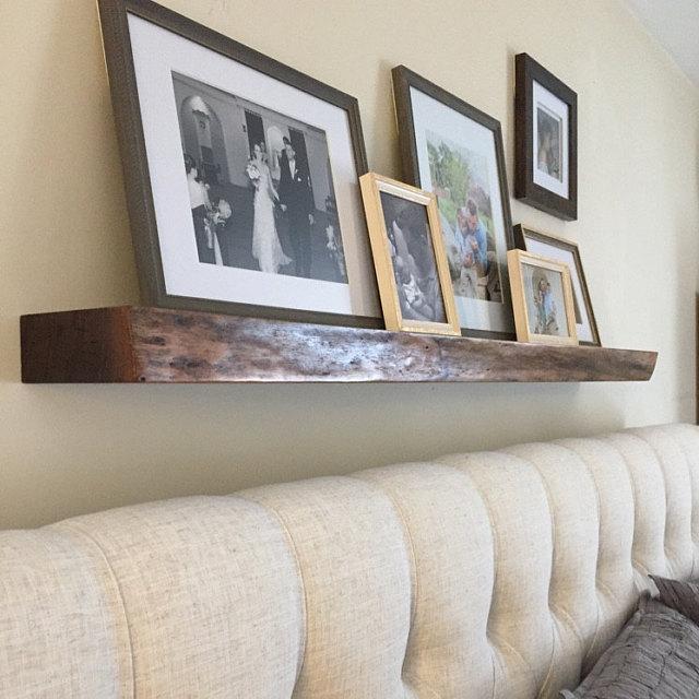 Live edge walnut floating shelf installed