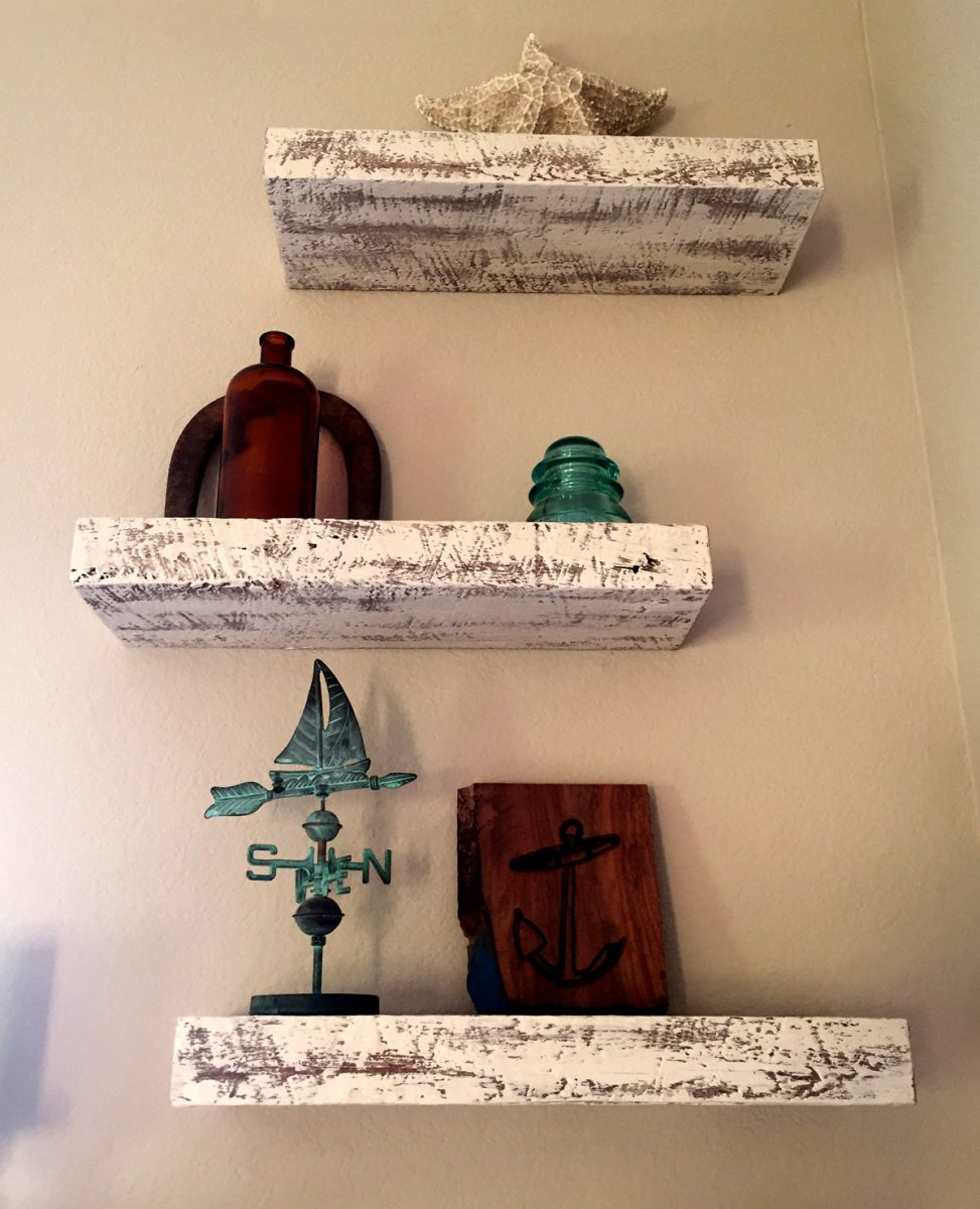 Rustic White-On-White Floating Shelves, installed by our Etsy customer