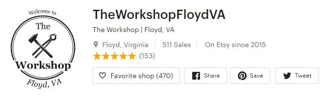 The Workshop, Floyd VA - Etsy