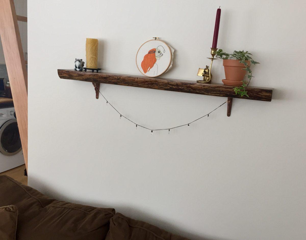 Antique Oak Floating Shelves installed by an Etsy customer