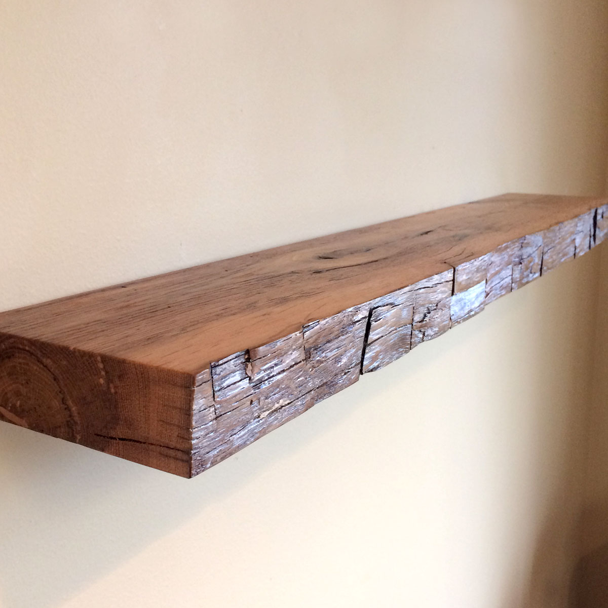 34 Hand Hewn Reclaimed Wood Antique Old Growth Oak Floating Shelf Distressed White Face No 128