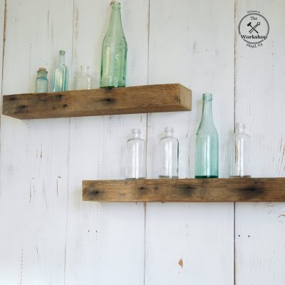 """24"""" Chunky Rustic Floating Shelf, Light Brown Barn Wood with Iron Stains, Reclaimed Wood 19th century"""