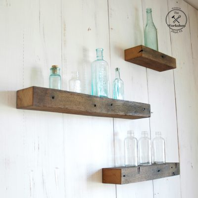 Set of 3 - Chunky Rustic Floating Shelves, Medium Brown Barn Wood with Iron Stains, Reclaimed Wood 19th century