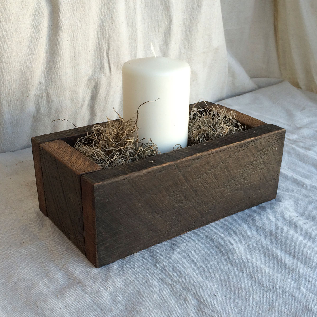 Centerpiece box quot dark brown rustic reclaimed wood