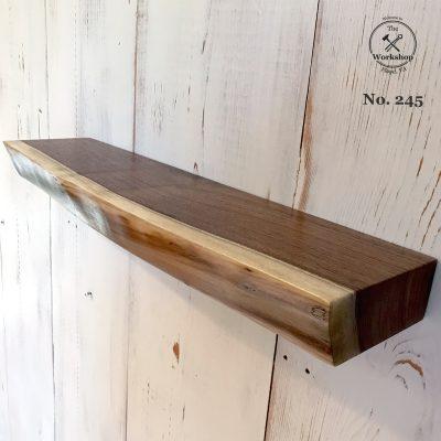 "21"" Walnut Live Edge Floating Shelf (Shelf No. 245)"