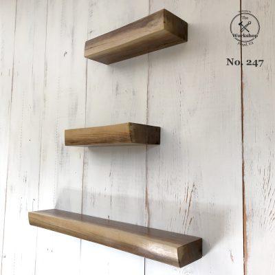 Set of 4 Walnut Live Edge Floating Shelves (No. 247)