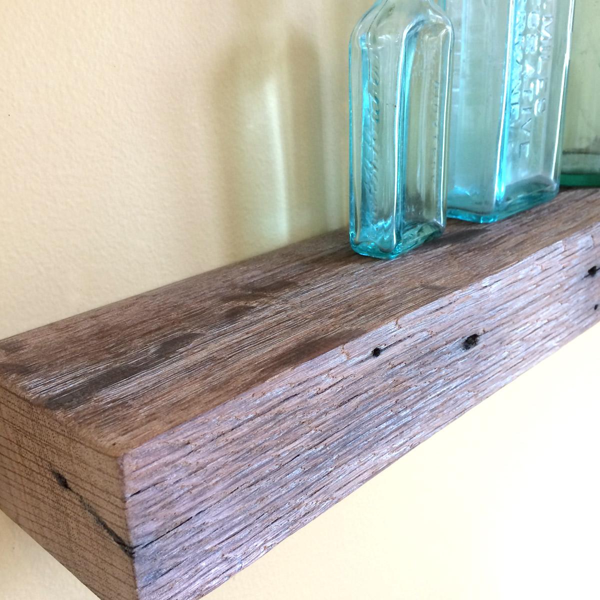 """24"""" Chunky Rustic Floating Shelf, Pickled Oak Barn Wood ..."""